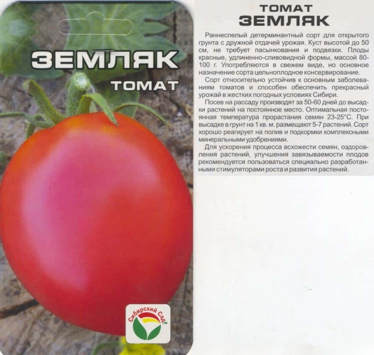 Томат Земляк: описание и характеристики сорта, достоинства и ... | 1137x1200